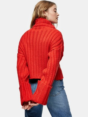 Topshop Turnback Cuff Jumper - Red