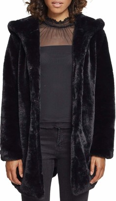 Urban Classics Women's Teddyjacke Plusch Mantel aus Fleece-Ladies Hooded Teddy Coat Parka