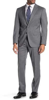 Calvin Klein Grey Blue Plaid Two Button Notch Lapel Slim Fit Suit