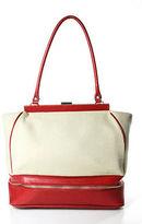 Anthropologie Ivory Red Canvas Leather Shoulder Handbag