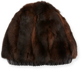 Inverni Fur & Cashmere Beanie Hat, Brown