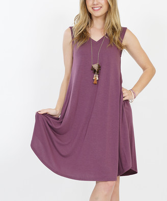 Lydiane Women's Casual Dresses EGGPLANT - Eggplant V-Neck Sleeveless Curved-Hem Pocket Shift Dress - Women & Plus