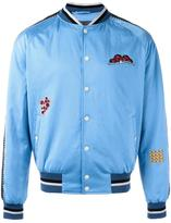 Lanvin embroidered patch baseball bomber - men - Viscose/Polyurethane/Cotton/Polyester - 48