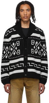 Billy Black and White Shawl Collar Cardigan