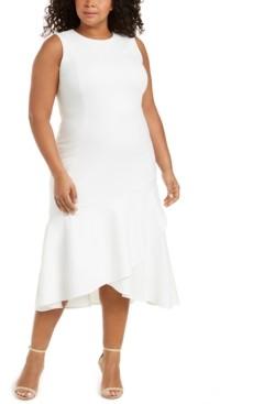 Calvin Klein Plus Size Ruffled High-Low Midi Dress