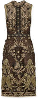 Marchesa Metallic Guipure Lace Dress - Black