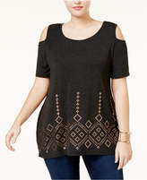Belldini Plus Size Cold-Shoulder Studded Tunic