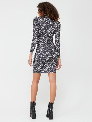 Very Long Sleeve High Neck Gather Detail Dress - Black Ditsy Floral