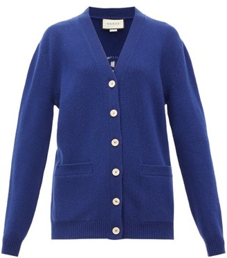 Gucci Slogan Wool Cardigan - Womens - Blue