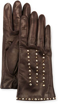 Portolano Studded Leather Gloves, Chocolate