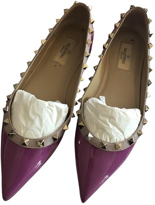 Valentino Rockstud Purple Patent leather Ballet flats