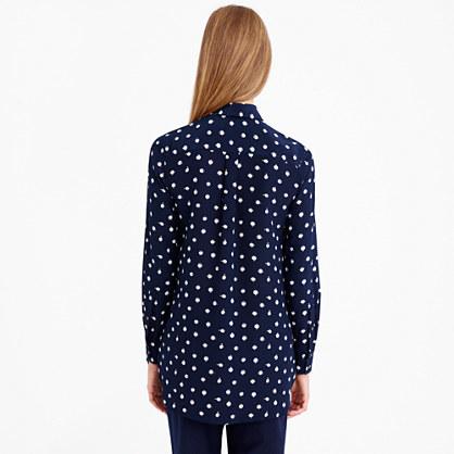 J.Crew Tall classic silk blouse in ticktock print