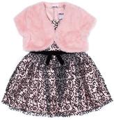 Little Lass Blush & Black Damask A-line Dress & Pink Shrug - Infant & Girls