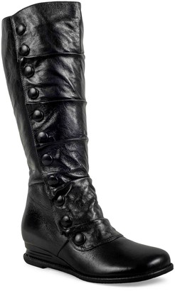 Miz Mooz Comfort Wedge Button Boots - Bobbie