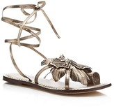 Bernardo Michelle Metallic Flower Lace Up Flat Sandals