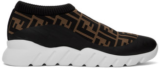 Fendi Brown and Black Forever Slip-On Sneakers