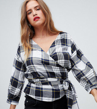 New Look Check Wrap Blouse