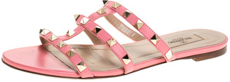 Valentino Pink Leather Rockstud Caged Flat Slides Size 37