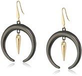 Steve Madden Two-Tone Crescent Fishhook Drop Earrings