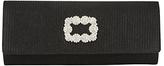 Adrianna Papell Rhinestone Embellished Flapover Roll Clutch Bag, Black