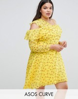 Asos Cold Shoulder Ruffle Tea Dress in Dobby Ditsy Print