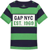 Gap Parrot Green Logo Chest Stripe Tee