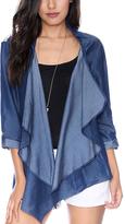 Grayson Dark Chambray Lace-Panel Open Jacket