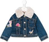 MonnaLisa faux fur collar denim jacket - kids - Cotton/Polyester/Spandex/Elastane - 9 mth