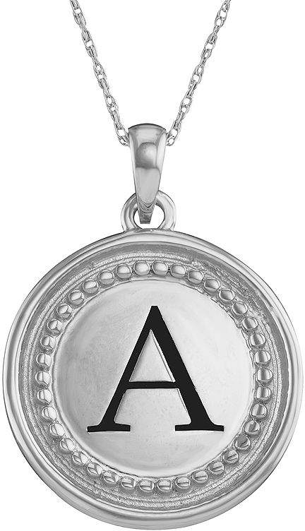 JCPenney FINE JEWELRY Personalized 14K White Gold Initial Disc Pendant Necklace