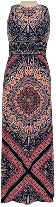 London Times Mandala Pleated Neck Sleeveless Maxi Dress (Plus Size)