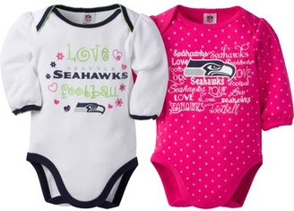 NFL Seattle Seahawks Baby Girls Long Sleeve Bodysuit Set, 2-Pack