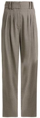 Balmain Prince Of Wales Checked Virgin Wool Trousers - Womens - Grey Multi