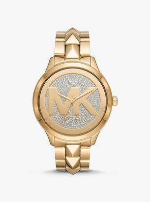 Michael Kors Oversized Runway Mercer Gold-Tone Pave Logo Watch
