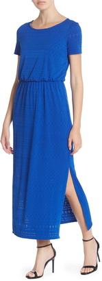 London Times Eyelet Lace Side Slit Maxi Dress