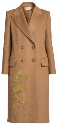 Alexander McQueen Embroidered Camel Hair Double Breasted Coat