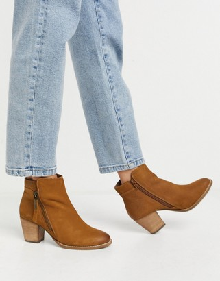 Dune wide fit side zip western heeled ankle boots in tan suede