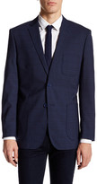 English Laundry Trim Fit Dark Blue Plaid Two Button Notch Lapel Wool Suit Separates Jacket