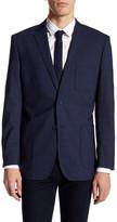 English Laundry Trim Fit Dark Blue Plaid Two Button Notch Lapel Wool Suit Separates Jacket