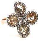 Tresor Collection - Organic Diamond Flower Ring With White Diamond Pave Frame Set in 18k Rose Gold