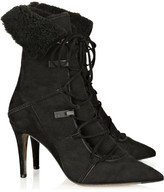 Shearling suede ankle boots
