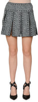 Valentino Studded Box-Pleat Tweed Skirt, Black/Ivory