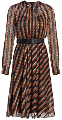 Akris Punto Houndstooth-Printed Crepe Dress