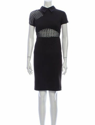 Victoria Beckham Lace Pattern Knee-Length Dress Black