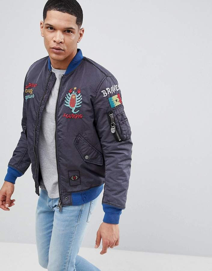 Diesel W-QUESTRY Embroidered Logo Bomber Jacket