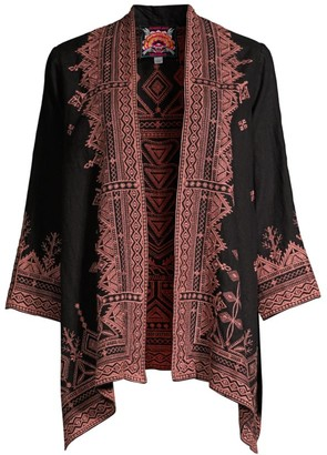 Johnny Was Eyal Embroidered Linen Cardigan