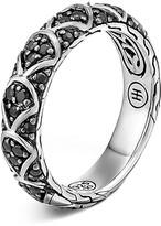 John Hardy Naga Sterling Silver Lava Slim Band Ring with Black Sapphire