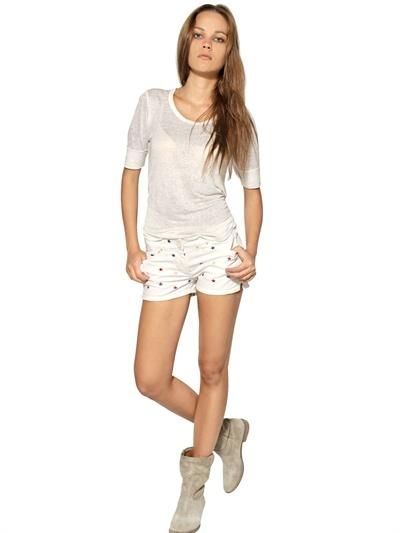 Etoile Isabel Marant Embroidered Stars Cotton Denim Shorts
