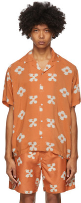 Saturdays NYC Orange Floral Canty Ikat Shirt