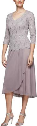 Alex Evenings Tea Length Lace & Chiffon Mock Two-Piece Dress (Regular & Petite)