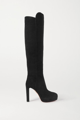 Aquazzura Gainsbourg 120 Suede Knee Boots - Black